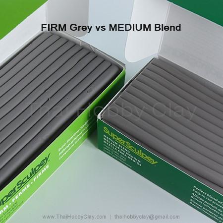 เทียบสีดินปั้น Firm grey vs Medium blend